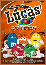 Personalised Birthday M&M's themed Invitations,M&M party invites x8 cards