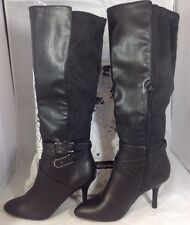 NEW CHINESE LAUNDRY Long Black Leather Boots Size 7 Suede High Heels Dress Shoes