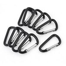 10 Pcs Black D Shaped Aluminum Alloy Snap Clip Key Chain Carabiner Hook AD