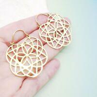 Bali Hippie Gipsy Stern Blüte Design Ohrringe Ohrhänger Hänger Gold plattiert