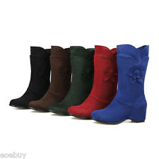 Women's Plus Size Shoes Suede Fabric Round Toe Wedge Heel Fashion Mid Calf Boots