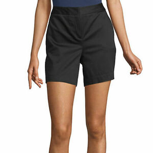 "Worthington Women's High Rise Midi Shorts Size 16 Black New 5"" Inseam"