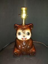 Vintage Large Ceramic Teddy Bear Nursery Lamp Works Unique!