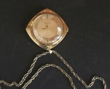 Vintage BULOVA Pendant Necklace Watch 17-Jewel Gold Tone WORKS!