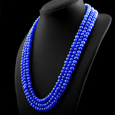 592.00 CTS EARTH MINED 3 LINE RICH BLUE SAPPHIRE ROUND SHAPE BEADS NECKLACE