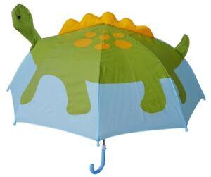 Pop Up Dino Umbrella Dinosaur Character Child Kid Size 36 Inch Size Blue Rain