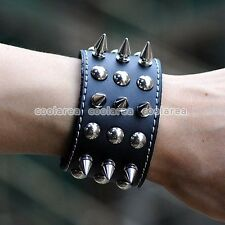 Punk Rock EMO Black 3 Row Rivet Link Chain Leather Bracelet Cuff Mens Wristband