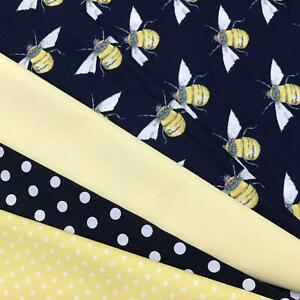 FAT QUARTERS Rose & Hubble 100% Cotton Fabrics Navy Bees Craft, Coverings AM30