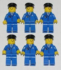 LEGO LOT OF 6 BLUE AIRLINE AIRPORT WORKERS PILOT MINIFIGURES