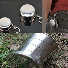 Portable Stainless Steel Retractable Folding Cup with Keychain Travel CF