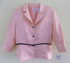 NWT Linen bl jacket 14 Pink Black trim Fitted Sewn-on belt Blazer Summer XL New