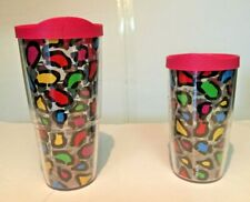 2 INSULATED TERVIS 16 & 24 Oz. TUMBLERS w/ LIDS  COLORFUL  LEOPARD SPOTS