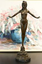 Bronze statue art deco nouveau dancer girl , SIGNED Jules Jouant
