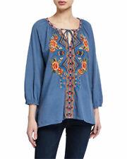 Johnny Was Sentrie Peasant cotton knit blouse denim color  1x