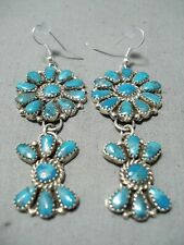 STUNNING NAVAJO TURQUOISE CLUSTER STERLING SILVER EARRINGS NATIVE AMERICAN