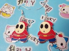 Cute Mario monster shy guy videogame charm earrings hooks silverplated jewelry