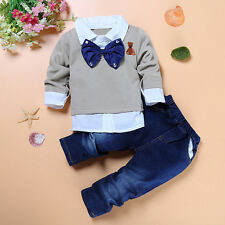 Baby Kids Boy Layered Tie T-shirt Tops+Denim Jeans Pants Outsit Clothes Set