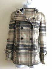 Zara beige et en laine mélangée gris à capuche manteau. petit (uk 8/10)