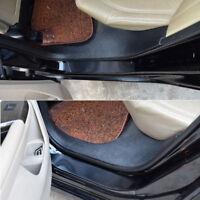 4Pcs 7D Carbon Fiber Car Accessories Door Sill Scuff Protector Stickers black