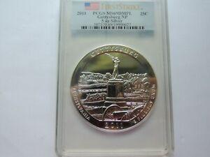 2011 .25C 5 oz .999 Silver Gettysburg PCGS MS69DMPL First Strike