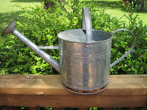 Rustic Galvanized Copper Trimmed Watering Can w/ Copper Sprinkle Head