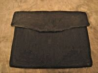 Vintage 40's Black Fabric Corded Clutch Purse Bag