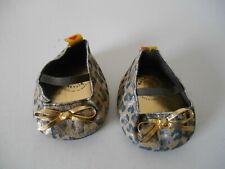 Build A Bear Leopard Print Fabric Shoes Flats w/ Gold Bows