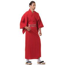 Japan Herren Yukata Kimono Obi Samurai Morgenmantel Haori Baumwolle Rot M L XL