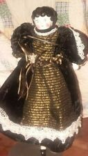 Reduced! Antique German 12-inch China-Head Doll In Velvet Dress
