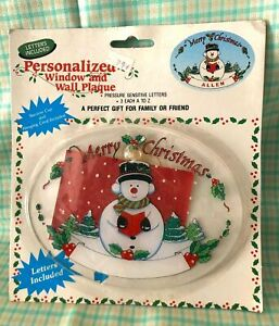 Vintage Christmas Frosty The Snowman Window, Wall Decoration Personalize 1989