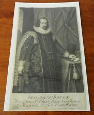 Antique Francis Bacon Copper Plate Engraving Print from George Vertue Engraving