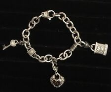 JUDITH RIPKA STERLING SILVER/CZ KEY TO MY HEART LINK BRACELET With Charms