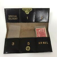 Vintage Leather Postage Stamp Case Italy Brown Gold W/ International Stamps