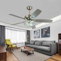 """52"""" Modern Crystal Ceiling Fan Light+Remote Control Reversible Chandelier FanNew"""