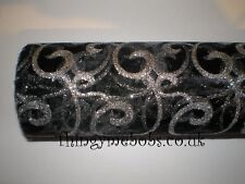 1m x 29cm BLACK/SILVER SWIRL ORGANZA - CRAFTS/TABLE RUNNER/WEDDING/VALENTINE'S