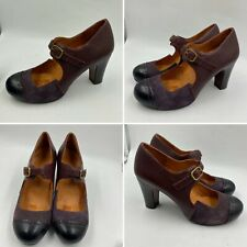 Chie Mihara Size 4 37 Plum Mary Janes Pumps Embossed Suede Leather Heels Womens