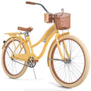 """Huffy Nel Lusso Classic Cruiser Bike w/ Perfect Fit Frame, Women's, Yellow, 26"""""""