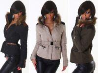 Giubbino Trapuntato Donna Giacca collo in pelliccia sintetica cintura elastica