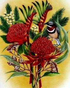 Australian Botanical OZ Wildflowers Birds Collectable Artist Print Stephen Bevan