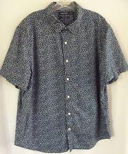 Nautica Mens Shirt XL Blue Floral Print Button Down Short Sleeves Classic Fit