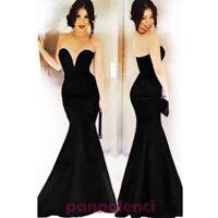 Vestito donna lungo abito sirena scollo cuore fondo svasato nuovo DL-1497