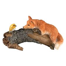 "Mini Miniature Playful Red Fox With Bird Figurine 3 3/8"" Long New In Box!"