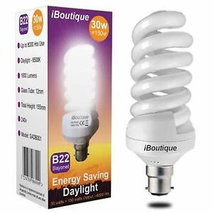 30W Bayonet B22 Daylight Energy Saving Light Bulb Equivalent Output 150 Watts