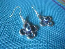 Silver earrings Greek evil eye swirl cross good luck unique Made in GR ELGR