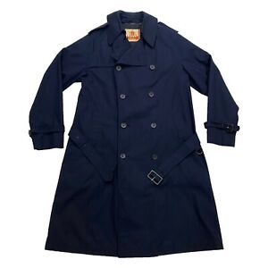 Baracuta Trench Coat | Vintage Luxury High End Designer Overcoat Navy Blue VTG