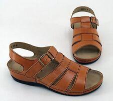 Damen-Sandalen & -Badeschuhe im Knöchel-/Fesselriemen-Stil aus Echtleder ohne Muster für Mittlerer Absatz (3-5 cm)