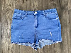 Lipsy Frayed Hem Denim Shorts Size 12