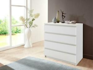 White chest of drawers CLEO - 4 handle free drawers