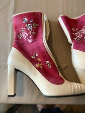 CHRISTIAN LACROIX Womens Embroidered Suede Ankle High Boots sz 41 Authentic