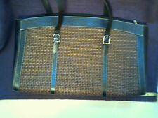 Maxx New York Large Brown Woven Bag With Black Straps with Silvertone Buckles